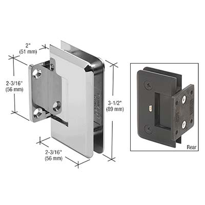 Bevelled Short-plate Wall Hinge Chrome