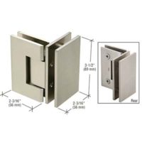 Square Corner-mount Brushed Nickle Hinge